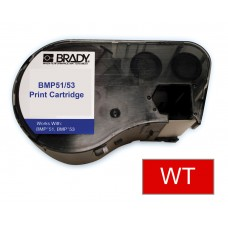 BMP51/53 B595 Outdoor 8Yr Vinyl, White/Red 38mm x 7.6m (MC-1500-595-RD-WT)