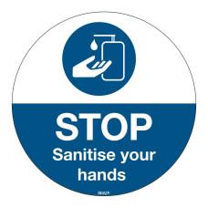 Floor Sign Sanitise Your Hands, 350mm diameter (PIC905-D350-FLO-EN)