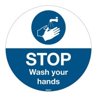 Floor Sign Wash Your Hands, 350mm diameter (M011-D350-FLO-EN)