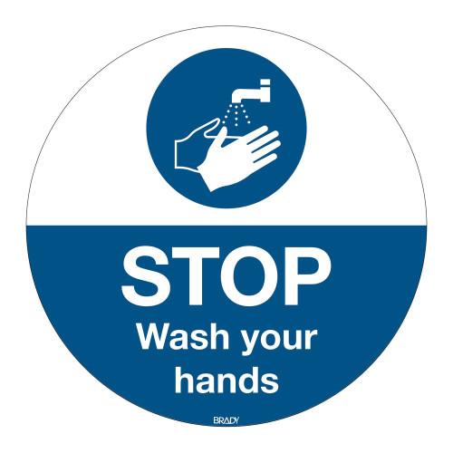 Floor Sign Wash Your Hands, 350mm diameter (M011-D350-FLO-EN)