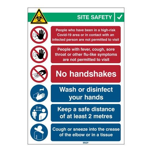 Covid-19 Reception Sign, 262mm x 371mm, Self-Adhesive Polyester (COVID-19-REC-EN)