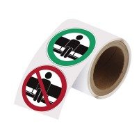 Self-Adhesive Polyester Labels, SIT - DO NOT SIT, 100mm roll