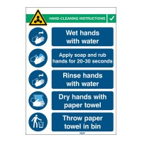 Covid-19 Hand Wash Sign, 262mm x 371mm, Self-Adhesive Polyester (HANDWASH-INST-EN)