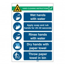 Covid-19 Hand Wash Sign, 262mm x 371mm, Rigid Polypropylene (HANDWASH-INST-PP-EN)