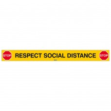Covid-19 Respect Social Distance Sign, 800mm x 80mm, Self-Adhesive Polyester (SOCIAL-DISTANCE-EN)
