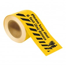 Covid-19 Toughstripe Floor Tape 102mm x 30m - Yellow, 2m social distance