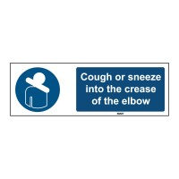Self-Adhesive Polyester Sign, Cough or sneeze 50mm x 150mm x single