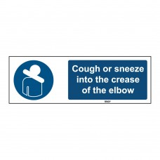 Rigid Polypropylene Sign, Cough or sneeze 150mm x 450mm x single