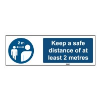 Self-Adhesive Polyester Sign, Safe distance 50mm x 150mm x single