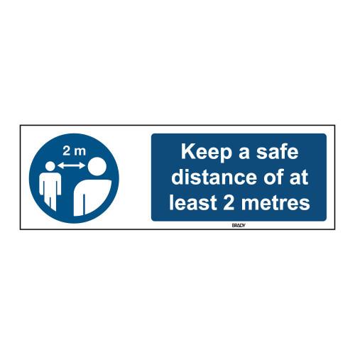 Rigid Polypropylene Sign, Safe distance 150mm x 450mm x single