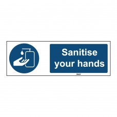 Self-Adhesive Polyester Sign, Sanitise your hands 50mm x 150mm x single