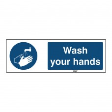 Self-Adhesive Polyester Sign, Wash your hands 50mm x 150mm x single
