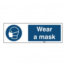 Self-Adhesive Polyester Sign, Wear a mask 50mm x 150mm x single
