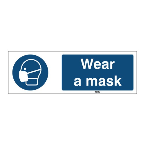 Self-Adhesive Polyester Sign, Wear a mask 105mm x 297mm x single