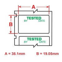 Tested Green on White labels, 19.1mm(W) x 38.1mm(H) x 250 labels (PTL-30-423-TEST)