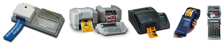 Varitronics Midas Easystep 4000, Brady Graphics Pro, Versaprinter, Handimark and TLS2200 label printers.
