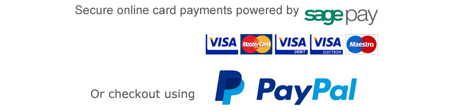We accept all major credit and debit cards, payments handled securely by Sagepay.